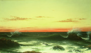 Ocean Wave Painting Framed Prints - Seascape Sunset 1861 Framed Print by Martin Johnson Heade