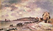 Ponies Paintings - Seascape with ponies on the beach by Johan Barthold Jongkind