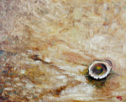 Seashell Fine Art Painting Prints - Seashell and sand Print by Hilary England