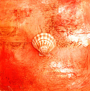 Tangerine Paintings - Seashell Art Modern Sand Painting Orange TANGERINE BEACH FUN by ARTDESTINY  by Michele Morata