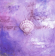 Shell Texture Painting Prints - Seashell Art Modern Sand Painting Purple LAVENDER BEACH FUN by ARTDESTINY Print by Michele Morata