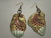 White Pearl Jewelry - Seashell stamped earrings 14 by Megan Brandl