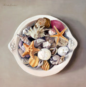Seashell Painting Framed Prints - Seashells Framed Print by Linda Tenukas
