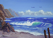 Calif. On Google Painting Originals - Seashore by Bob Phillips