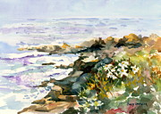 Maine Shore Painting Originals - Seashore Daisies by Cindy Spencer