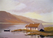 Turf Paintings - Seaside Cottage by Cathal O malley