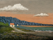 Sunset Seascape Mixed Media Prints - Seaside Cottage Print by Gordon Beck