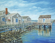 Boardwalk Paintings - Seaside Cottages by Danielle  Perry