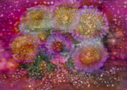 Oil Slick Painting Prints - Seaside Daisies Print by Don  Wright