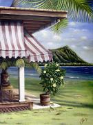 Motel Painting Prints - Seaside Hotel Print by Sandra Blazel - Printscapes
