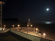 Moonlit Night Framed Prints - Seaside Oregon Beach and Promenade Framed Print by Daniel Hagerman