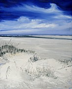 Sand Dunes Drawings Prints - Seaside Oregon Print by Marie BernardJames