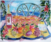 Bread Paintings - Seaside Picnic by Susan Dade