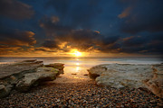 Sun Photo Posters - Seaside Reef Sunset 9 Poster by Larry Marshall