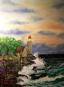 Lighthouse Digital Art Originals - Seaside Vigil by Laurie Kidd