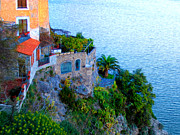 Seaside Digital Art Posters - Seaside Villa Amalfi Poster by Bill Cannon