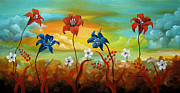 Landscape Greeting Cards Painting Prints - Season Flowers Print by Uma Devi