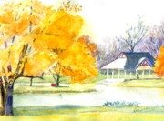 Pond In Park Painting Prints - Seasons Finale Print by Robert Haeussler
