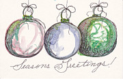 Christmas Notecard Originals - Seasons Greetings Antique Ornaments by Michele Hollister - for Nancy Asbell