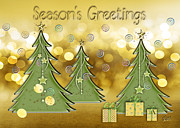 Christmas Card Digital Art Metal Prints - Seasons Greetings Metal Print by Arline Wagner