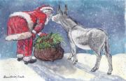 Santa Claus Paintings - Seasons Greetings by Dawn Senior-Trask