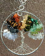 Malachite Jewelry - Seasons of the Year Silver Tree of Life Pendant by Heather Jordan