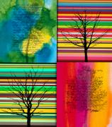 Four Seasons Winter Tree  Nature Paintings - Seasons by Ramneek Narang
