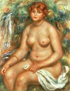 Voluptuous Painting Posters - Seated Bather Poster by Pierre Auguste Renoir