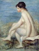 Naked Metal Prints - Seated Bather Metal Print by Renoir