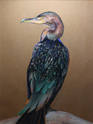 Duck Pastels - Seated Cormorant by Flo Hayes