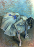 Ballerina Pastels Prints - Seated Dancer Print by Edgar Degas