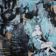 Female Fairy Abstract Prints - Seated fairy with hand 2 Print by Joanne Claxton