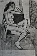 Nudes Drawings Prints - Seated Female Print by Joanne Claxton