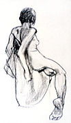 Impressionist Drawings Framed Prints - Seated female Nude from back Framed Print by Roz McQuillan
