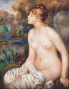 Banks Painting Posters - Seated Female Nude Poster by Renoir