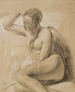 Odalisque Drawings Prints - Seated Female Nude Print by Sir John Everett Millais