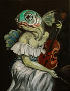 With Originals - Seated Fish With Violin by Ellen Marcus