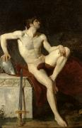 Erotic Naked Man. Prints - Seated Gladiator Print by Jean Germain Drouais