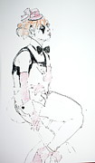 Gloves Drawings Prints - Seated lady clown Print by Joanne Claxton