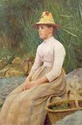 Straw Hat Prints - Seated Lady Print by Edwin Harris