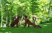 Rust Sculptures - Seated Lioness and Stretching Lioness by Denis Curtiss