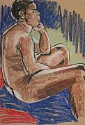 Male Pastels Originals - Seated Male by Joanne Claxton