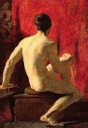 Muscular Metal Prints - Seated Male Model Metal Print by William Etty