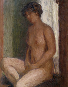 Naked Metal Prints - Seated Nude Against the Light Metal Print by Roderic OConor
