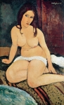 Seated Prints - Seated Nude Print by Amedeo Modigliani