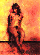 Long Hair Mixed Media Acrylic Prints - Seated Nude Acrylic Print by Carl Rolfe