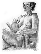 Adam Long Drawings - Seated nude reading figure drawing by Adam Long