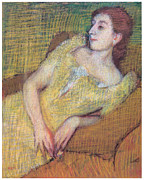 Woman In A Dress Framed Prints - Seated Woman in a Yellow Dress Framed Print by Edgar Degas