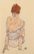 Rear View Drawings - Seated woman in underwear by Egon Schiele