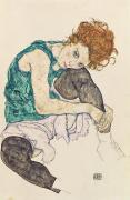 Red Hair Painting Posters - Seated Woman with Bent Knee Poster by Egon Schiele